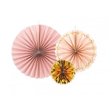 Rozety Papierowe dekoracyjne odcienie różu i złotego 3szt