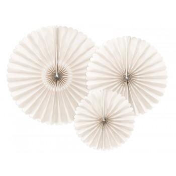 Rozety Papierowe dekoracyjne beżowe 3szt