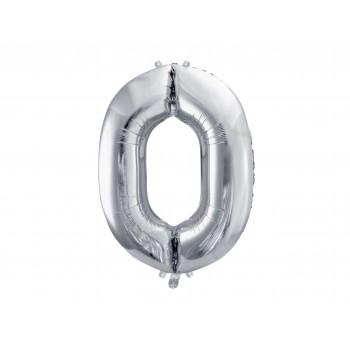 """Balon foliowy srebrny 35cm cyfra """"0"""""""