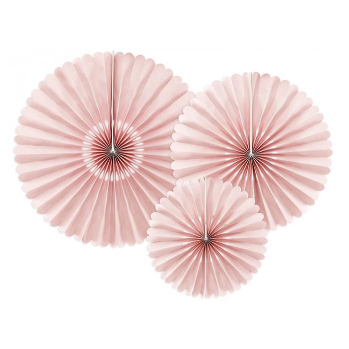 Rozety Papierowe dekoracyjne brudny róż 3szt