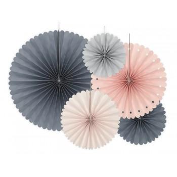 Rozety Papierowe dekoracyjne odcienie różu i szarości 5szt