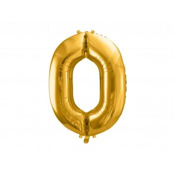 """Balon foliowy złoty 35cm cyfra """"0"""""""