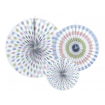 Rozety Papierowe dekoracyjne 'Pastelove' 3szt