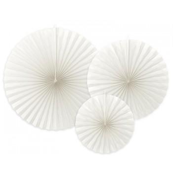 Rozety Papierowe dekoracyjne złamana biel 3szt