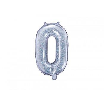 """Balon foliowy holograficzny 35cm cyfra """"0"""""""
