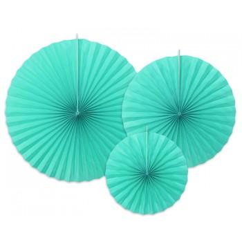 Rozety Papierowe dekoracyjne odcienie niebieskiego 3szt