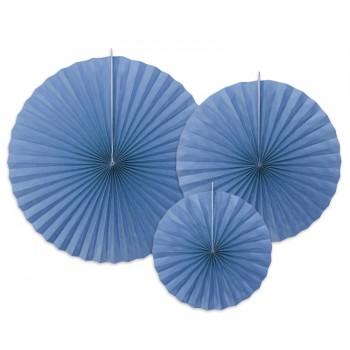 Rozety Papierowe dekoracyjne chabrowe 3szt