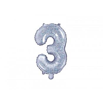 """Balon foliowy holograficzny 35cm cyfra """"3"""""""