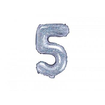 """Balon foliowy holograficzny 35cm cyfra """"5"""""""