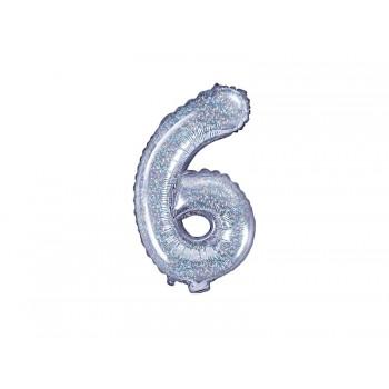 """Balon foliowy holograficzny 35cm cyfra """"6"""""""