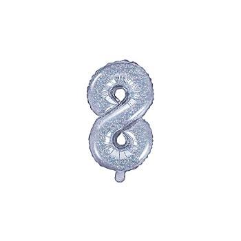 """Balon foliowy holograficzny 35cm cyfra """"8"""""""