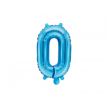 "Balon foliowy niebieski 35cm cyfra ""0"""