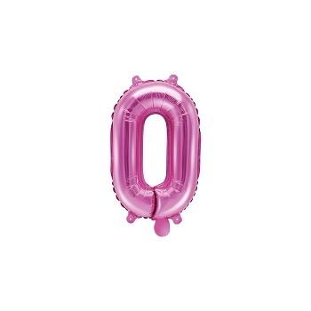 """Balon foliowy ciemny różowy 35cm cyfra """"0"""""""