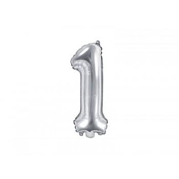 """Balon foliowy srebrny 35cm cyfra """"1"""""""
