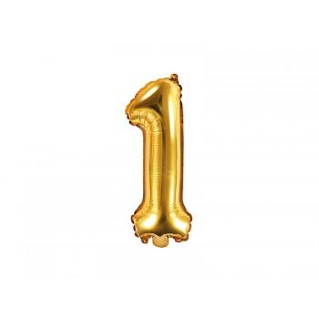 """Balon foliowy złoty 35cm cyfra """"1"""""""