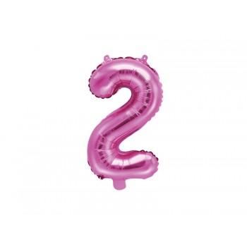 """Balon foliowy ciemny różowy 35cm cyfra """"2"""""""