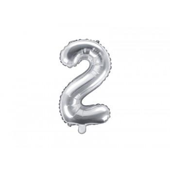 """Balon foliowy srebrny 35cm cyfra """"2"""""""