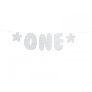 Baner 1st Birthday - One srebrny 11,5 x 50cm