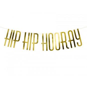 Banner 'Hip Hip Hooray' złoty 15x120cm