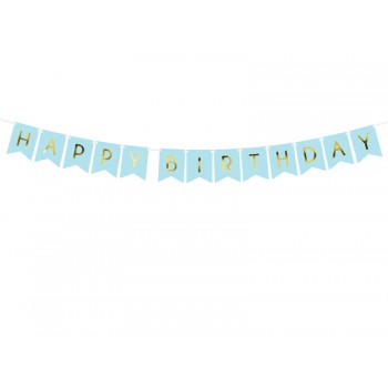 Baner 'Happy Birthday' j. niebieski 15 x 175 cm