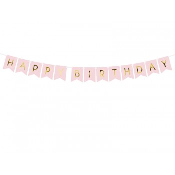 Baner 'Happy Birthday' j. różowy 15 x 175 cm