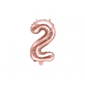 """Balon foliowy różowe złoto 35cm cyfra """"2"""""""