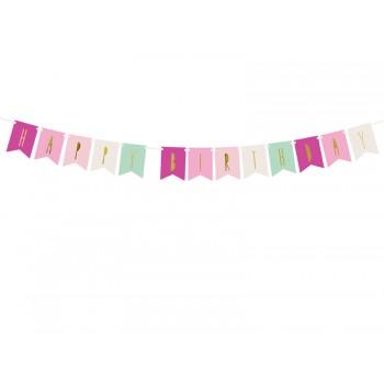 Baner flagietki Happy Birthday 11,5 x 140 cm