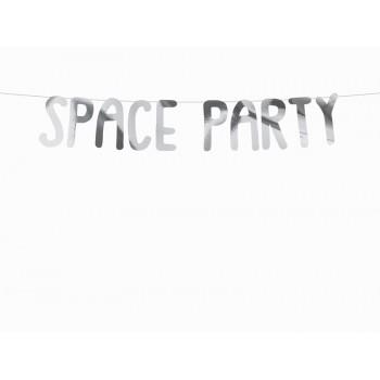 Baner Kosmos 'Space Party' srebrny 13x96cm