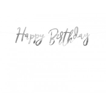Baner Happy Birthday srebrny 16,5 x 62cm