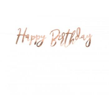 Baner Happy Birthday różowe złoto 16,5 x 62cm