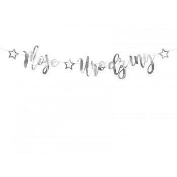 Baner 'Moje urodziny' srebrny 16,5x90cm