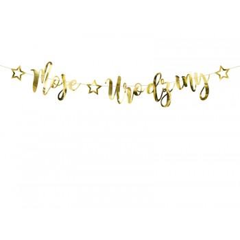 Baner 'Moje urodziny' złoty 16,5x90cm