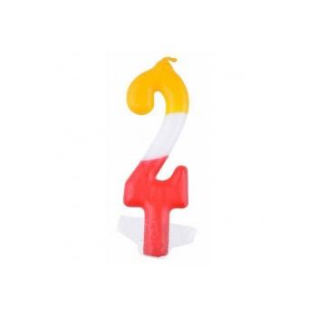 """Świeczka cyfra """"2"""" kolorowa 10,5cm"""