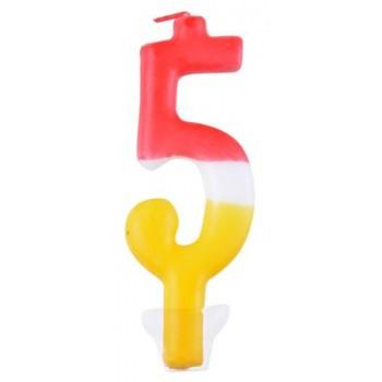 """Świeczka cyfra """"5"""" kolorowa 10,5cm"""