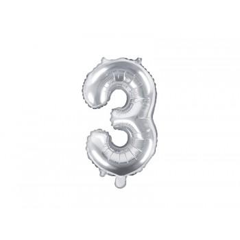 """Balon foliowy srebrny 35cm cyfra """"3"""""""