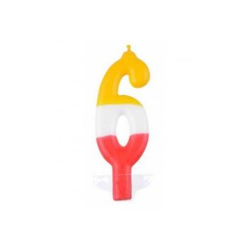 """Świeczka cyfra """"6"""" kolorowa 10,5cm"""