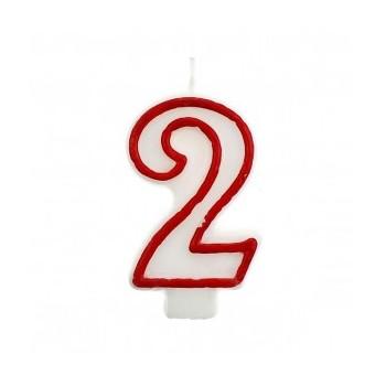 """Świeczka cyfra """"2"""" czerwony 7,5cm"""