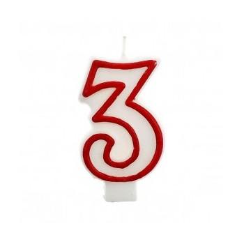 """Świeczka cyfra """"3"""" czerwony 7,5cm"""