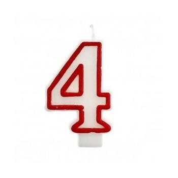 """Świeczka cyfra """"4"""" czerwony 7,5cm"""