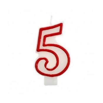 """Świeczka cyfra """"5"""" czerwony 7,5cm"""