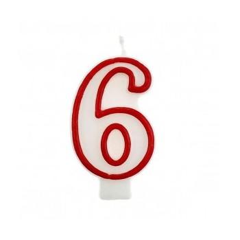 """Świeczka cyfra """"6"""" czerwony 7,5cm"""
