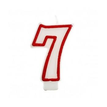 """Świeczka cyfra """"7"""" czerwony 7,5cm"""