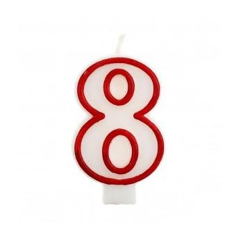 """Świeczka cyfra """"8"""" czerwony 7,5cm"""