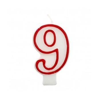 """Świeczka cyfra """"9"""" czerwony 7,5cm"""