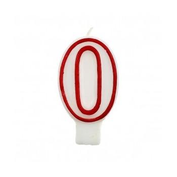 """Świeczka cyfra """"0"""" czerwony 7,5cm"""
