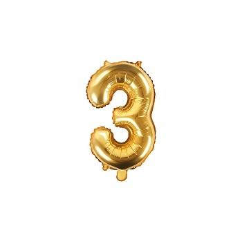 """Balon foliowy złoty 35cm cyfra """"3"""""""