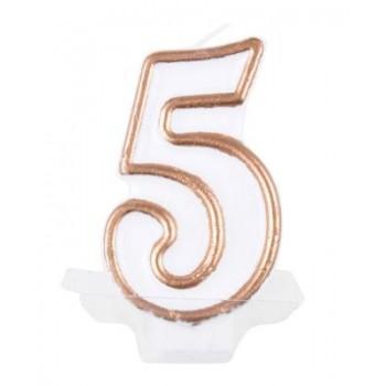 """Świeczka cyfra """"5"""" złoty 7,5cm"""