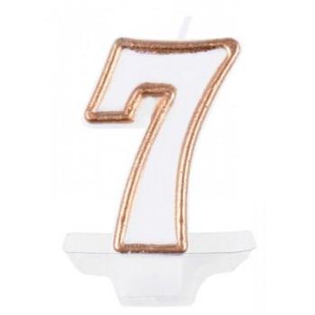 """Świeczka cyfra """"7"""" złoty 7,5cm"""