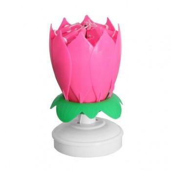 Świeczka Fontanna tortowa tańcząco-grająca Różowa