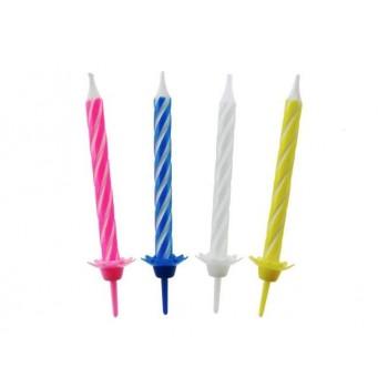 Świeczki urodzinowe kolorowe 24szt